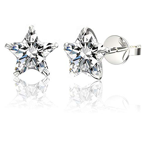 .925 Sterling Silver Hypoallergenic Cubic Zirconia Star Shape Stud Earrings, 6mm ()