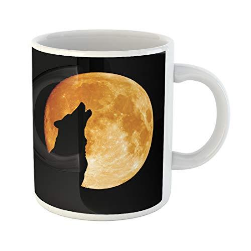 Emvency Funny Coffee Mug Gray Full Wolf Howling