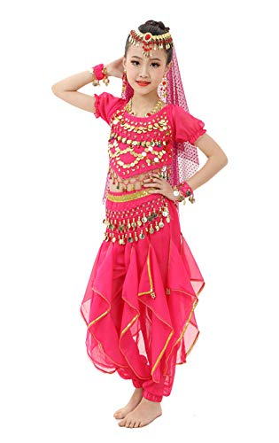 (Gilrs Halloween Costume Set - Kids Belly Dance Halter Top Pants with Jewelry Accessory for Dress Up Party (Hot Pink, S(Height:)
