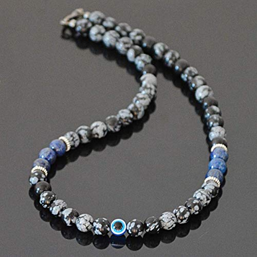 (Handmade Evil Eye Protection Amulet Choker Necklace for Men Natural Gemstone with Lapis Lazuli and Snowflake Obsidian)