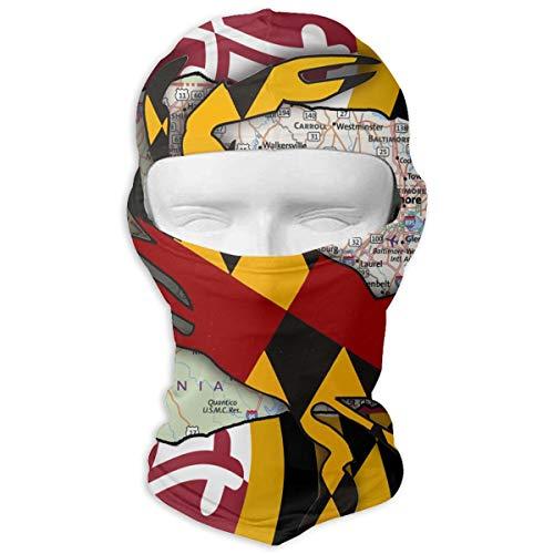 (Northern Nebula Maryland Flag Balaclava - Windproof Ski Mask - Motorcycle Full Face UV Protection Mask)