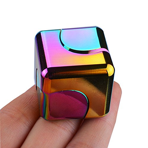 Metal Fidget Cube Square Rainbow Fidget Spinner Hand Spinner Relieves Stress and Anxiety Attention Decompression toys