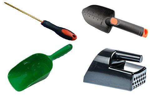Metal Detecting and Treasure Hunting Tool Kit #2 BLACK Sand Scoop, Hand Trowel, Super Scooper, and Brass Probe ()