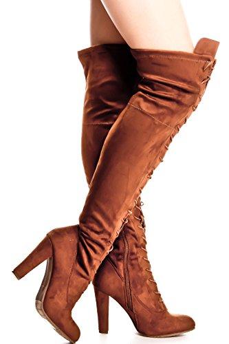 Lolli Couture Forever Link Cordón De Cuero Sintético Up Estilo De Combate Largo Con Tacón Hasta La Rodilla Botas Largas Tan-dasia-14