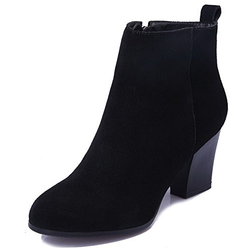Allhqfashion Solid Blend Black Toe Round Materials frosted Closed Women's Boots Zipper aTq0ra