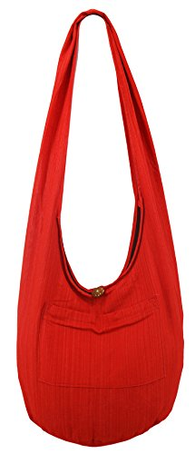 (Lovely Creations Hobo Bohemian Sling Crossbody bag Stripped Cotton Shoulder Hippie Gypsy Zip on Top Bag and Front Pocket (ST Red))