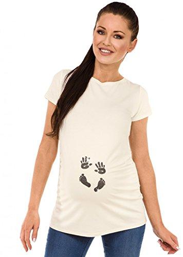 Print Ecru (Zeta Ville - Womens Maternity T-shirt Top Tee Baby Hands Print Footprint - 013c (Ecru, US 12/14, 2XL))