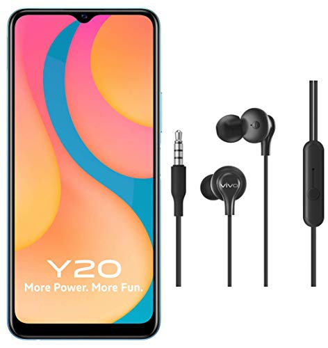 Vivo Y20 (Purist Blue, 6GB RAM, 64GB Storage) with No Cost EMI/Additional Exchange Offers + vivo Color Wired Earphones with Mic and 3.5mm Jack (Black)