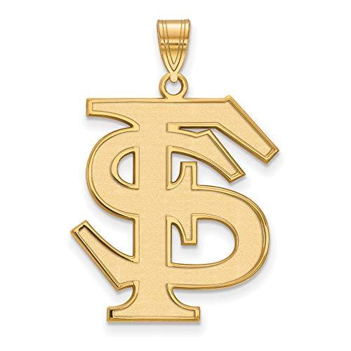 (14k Yellow Gold Florida State University Seminoles School Letters Logo Pendant 25x22mm)