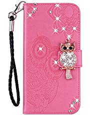 Amocase Wallet Case with 2 in 1 Stylus for Samsung Galaxy A22 5G,3D Bling Gems Owl Magnetic Mandala Embossing Strap PU Leather Card Slot Stand Case for Samsung Galaxy A22 5G - Pink