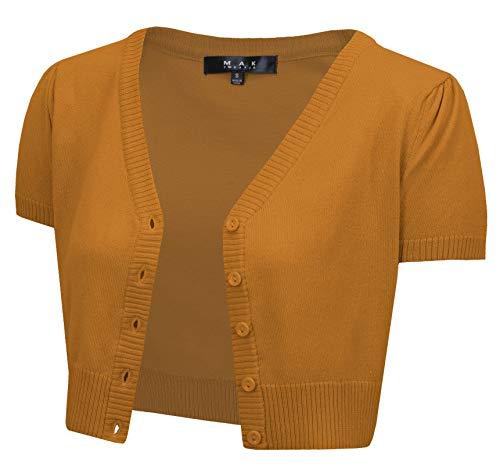 YEMAK Women's Short Sleeve Cropped Bolero Button Down Cardigan Sweater HB2137-BRZ-S Bronze