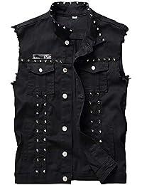 Men's Sleeveless Lapel Denim Jean Vests Jacket with Rivets