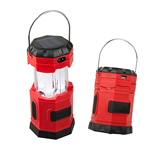 "TANSOREN Portable LED Camping Lantern Solar USB Rechargeable or 3 AA Power Supply, Built in Power Bank for Android Charger, Waterproof Collapsible Emergency LED Light with S"" Hook"
