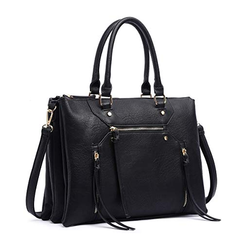 Women Briefcase Shoulder Bag Soft Faux Leather Triple Zipper Pocket Ladies Large Crossbody Bag with Tassel (Black)