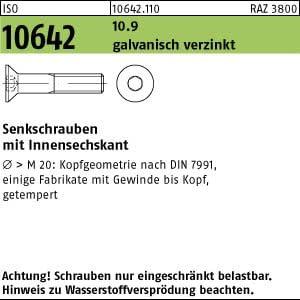 100 Inbus Senkkopfschrauben ISO 10642 10.9 verzinkt M12x60