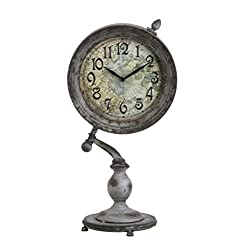 CC Home Furnishings 19 Rustic Cottage Distressed Finish Gray Pedestal Shelf Clock