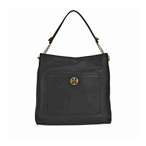 Tory Burch Chelsea Chain Hobo Leather Bag- Black