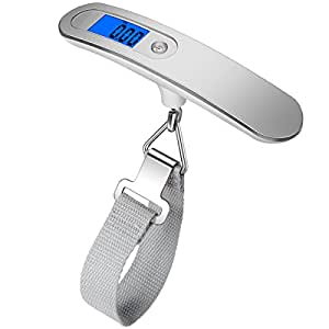 (New) AMIR Digital Luggage Scale, 110lb(50kg) Hanging Portable Travel Electronic Suitcase Scale, Backlight LCD Display,Tare, Rubber Paint Handle, Temperature Sensor (Battery Included)