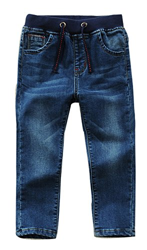 Toddler Kid Boy Elastic Mid Waist Washed Full Length Straight Pants Denim Jeans(D,6 Years)