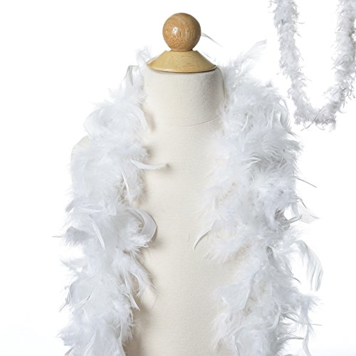 BalsaCircle 6 feet White Large Feathers Boa - Costumes Gifts Dress Up Kids Party Wedding Accessories (Discount Feather Boas)