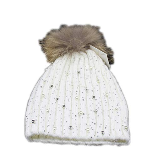 Women Winter Fur Pompom Hats Beanies Gorro Diamond Pearl Embed Wool Beanie Female Caps White