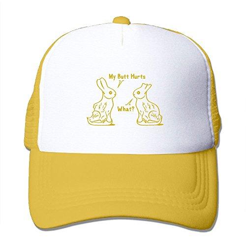 Easter Rabbit Clipart (Crazy Popo Outdoor Sports Hat - Easter Rabbit Butt Hurts Adjustable Trucker Hat Cap Adult Unisex Sun Hat Caps)