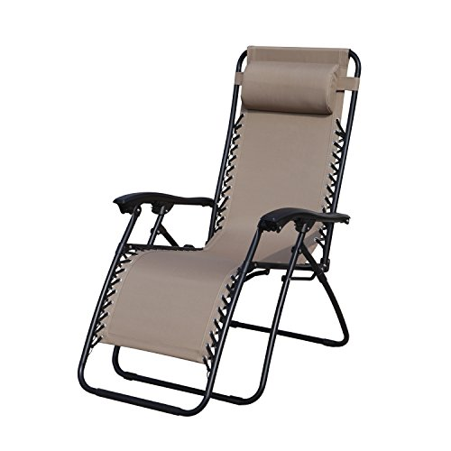 Grand Patio Premium Infinity Zero Gravity Chair, Weather Resistant Patio Lounge Chairs, Super Durable Reclining Patio Chair With Cup Holder, Beige
