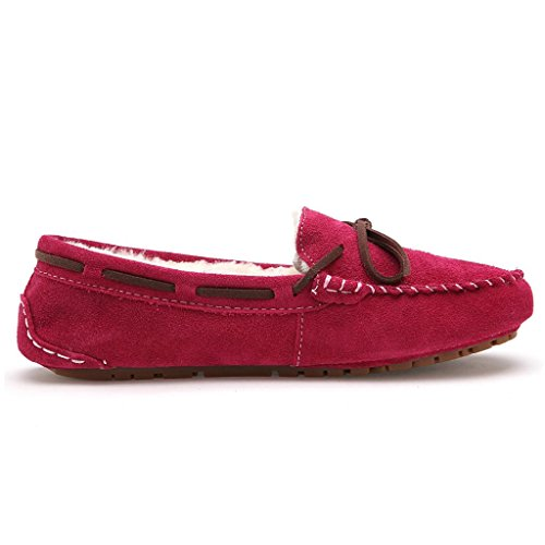 Womens DeepPink Fur SUNROLAN Shoes On Moccasins Suede Slip Driving House Flats Winter Loafers Lined Slippers dTT6qZY