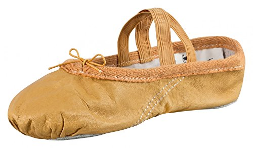 Leather ballet slippers, split sole, sand-coloured and stone-white caramel