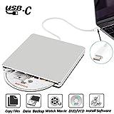External DVD CD Drive NOLYTH USB C Superdrive DVD CD Player Burner Writer Drive for Apple/Mac/Macbook Pro/Laptop/Windows10(Silver)