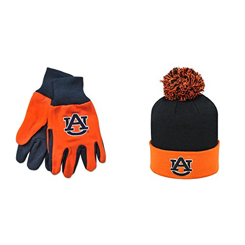NCAA Auburn Tigers Grip Work Glove And Pom Beanie Hat 2 Pack Bundle