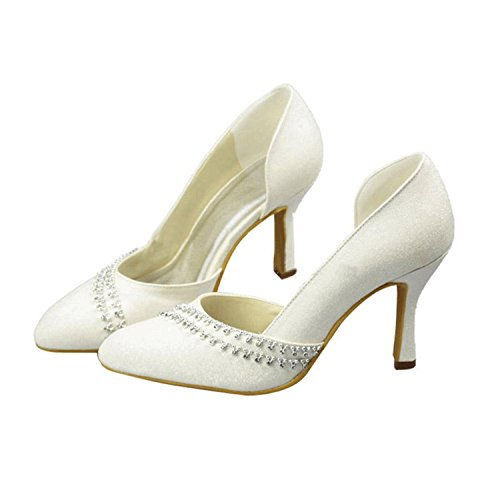 Minitoo Girls Womens D-orsay Glitter Crystals Bridal Wedding Pumps Shoes Ivory-9.5cm Heel Ziwcvw