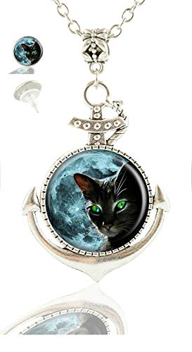 Youroom Custom Fashion Vintage Anchor Pendant Necklace Earrings Jewelry Glass Necklace Set (Moon Black Cat)
