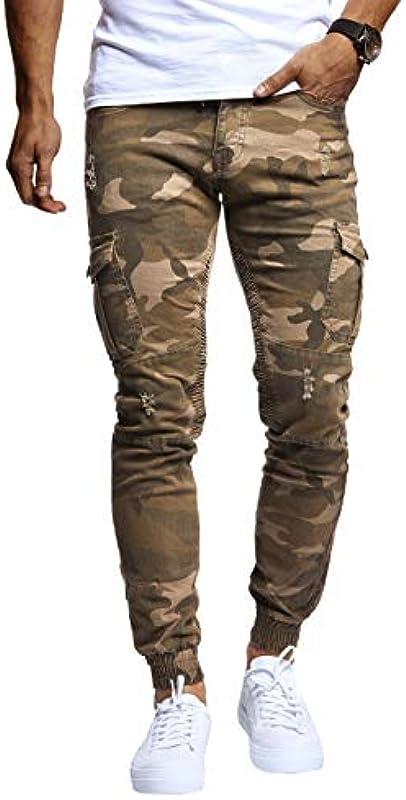 Leif Nelson męskie spodnie jeansowe chinos cargo spodnie chinos jogger spodnie rekreacyjne Slim Fit LN9325; W31L30, Khaki: Odzież