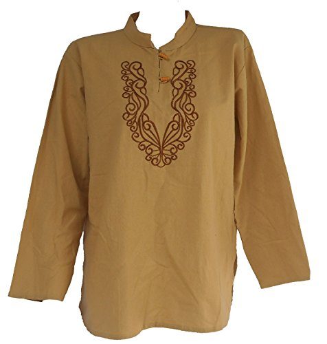 Bonya Unisex's Tribal Embroidered Long Sleeve Cotton Shirt - (Light Brown) (Thai Embroidered Dress)