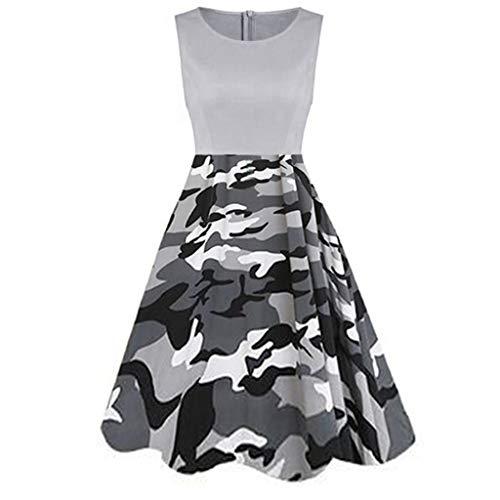 Zackate Womens Vintage Sleeveless Midi Dresses Ladies Dress Printed Camo Printed Tunic Tank Dress]()