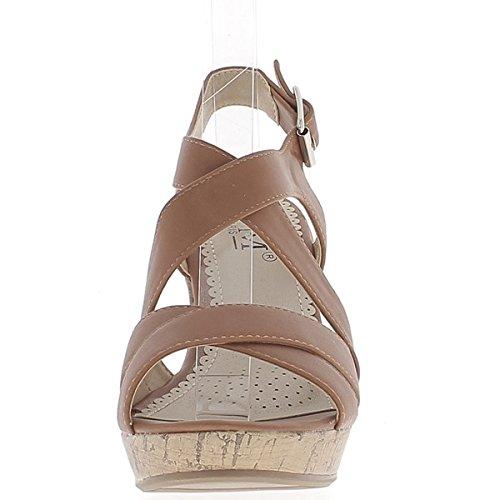 Plataforma de 10cm de tacón cuña Camel sandalias con bridas de ancho