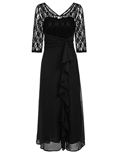 ANGVNS Women's Elegant Round Neck Evening Party Maxi Dress by ANGVNS