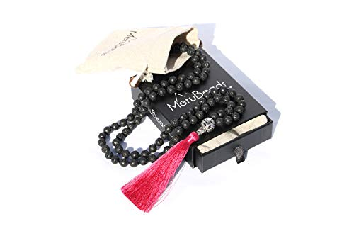 Magenta Red Tassel Lava Rock Mala Beads Necklace - Lava Mala Beads - Mala Bracelet - Yoga Jewelry - MalaBeads Necklace - Mala Beads Lava Stone - Mala Beads with Lava Beads