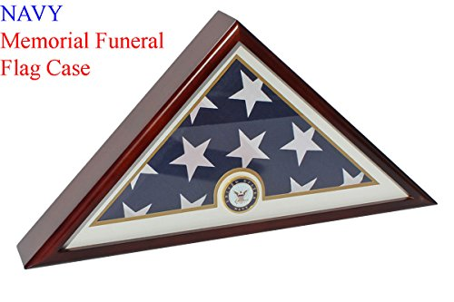 Flag Display Case Stand for American NAVY Veteran Burial Flag 5 X 9- Mahogany Finish