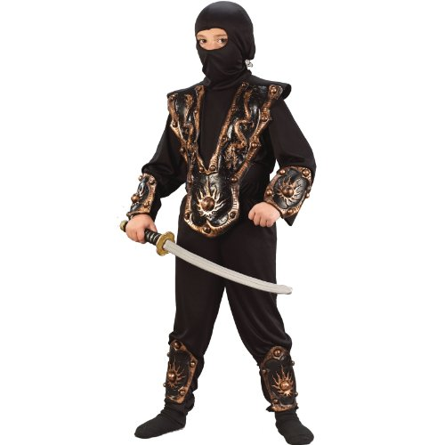 Boys Gold Ninja Warrior (Ninja Fighter Hooded Costumes)
