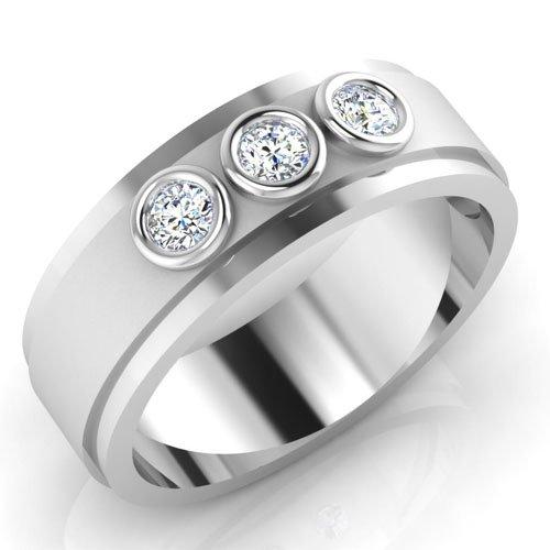 0,22 Ct redondo Natural Diamond anillos de boda para hombre 14 K oro blanco