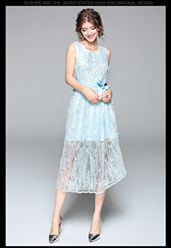 line Dress cotyledon A Ribbon Dresses Belt Light Blue Scoop Sleeveless `s Formal Neck with Women Embroidered rvFz8rq