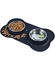 Dog Bowls Double Stainless Steel Pet Bowls for Food and Water with A No-Spill Silicone Mat Foldable and Compact Double Pet Bowls Feeder Bowl for Dogs Cats and Pets (Small)
