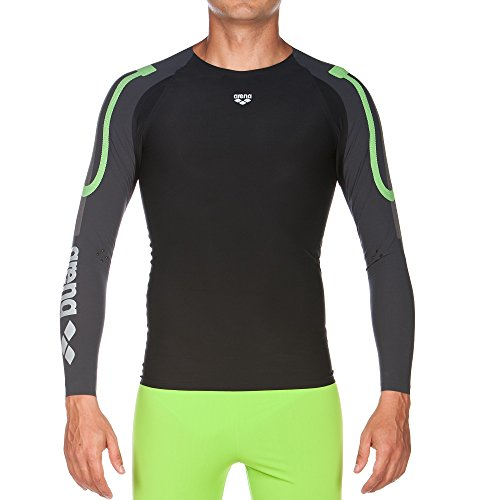 Arena 1D143 Men's Long Sleeve Top Powerskin Carbon Compression, Black/Deep Grey - L