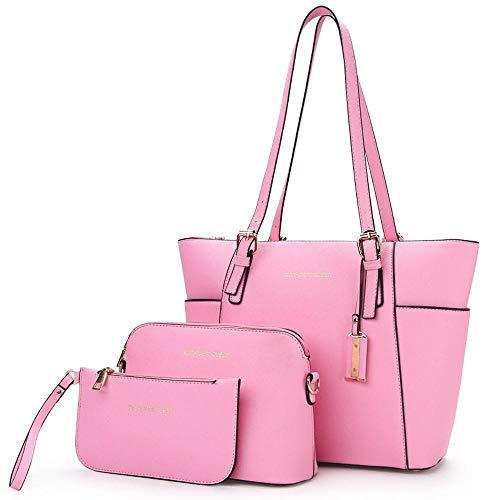 Ladies PU Piece pour WWAVE Fashion Tout à Three Femme Sac fourre Dames Main Sacs pink gqFqxYv