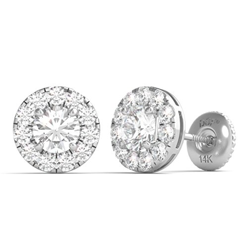 Diamond Studs Forever 14K White Gold Diamond Halo Earrings Screw Back (1.00 Ctw, IGI USA Cert GH/I1) by Diamond Studs Forever