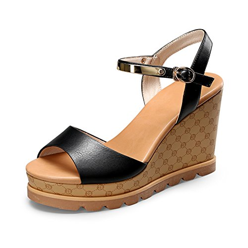 EU36 PENGFEI Heel US6 BLACK Color Black Colors Wedge 230 2 Size Thick Summer 10CM UK4 Height Female Sandals Beach Strap 5 Bottom Ankle ACTxrqAwp