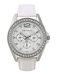 Womens White Leather Strap Watch Silver Tone Crystals Accented Bezel Jade LeBaum - JB202739G