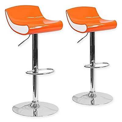 Flash Furniture Adjustable Chrome Pedestal Bar Stool, Set of 2, Orange/White